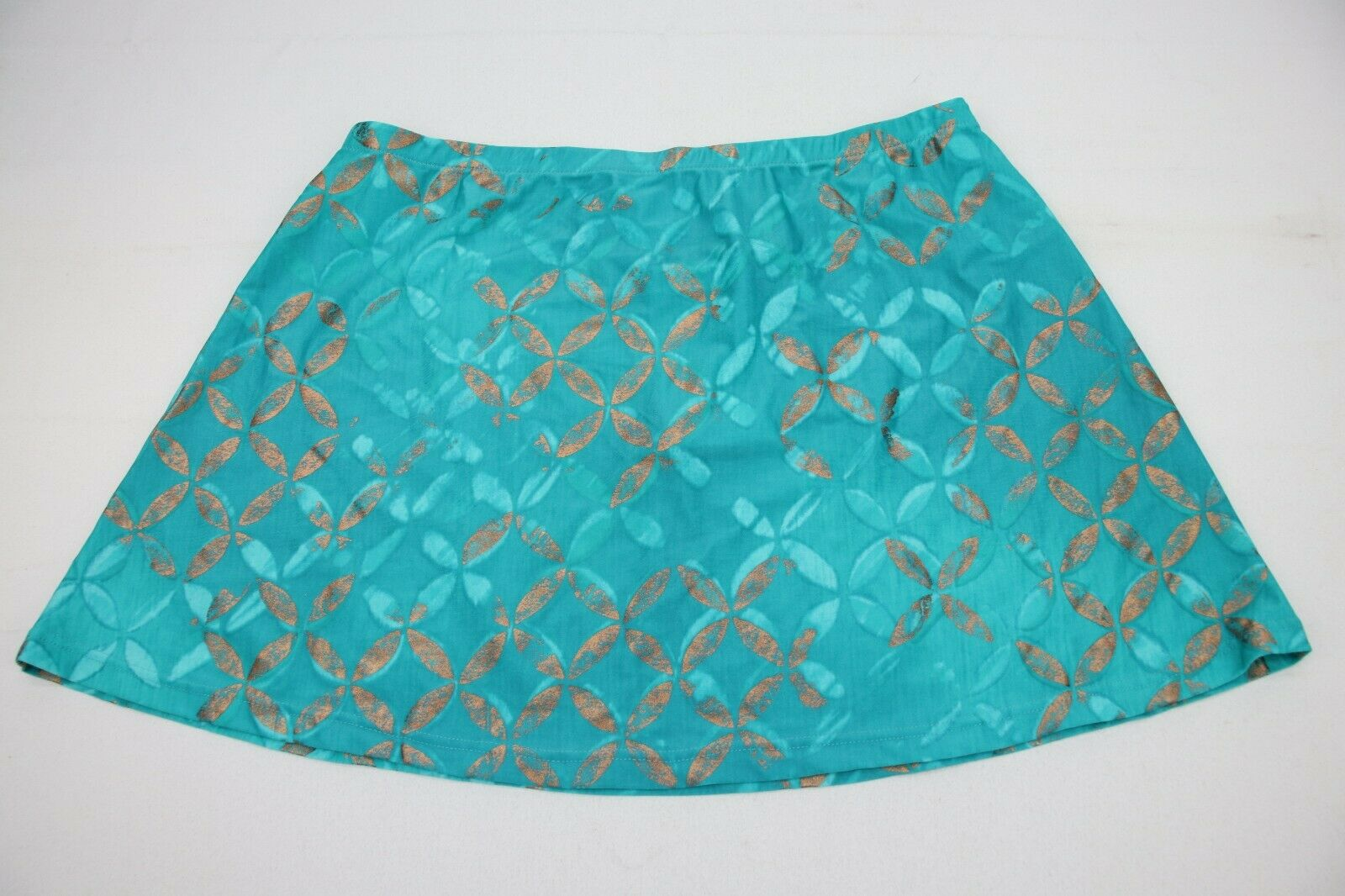 damen Mini Skirt Größe Medium Grün w Gold Pattern Gottex NEW W TAG
