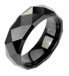 Tungsten-Carbide-Wedding-Band-Black-Multi-Faceted-Polish-8mm