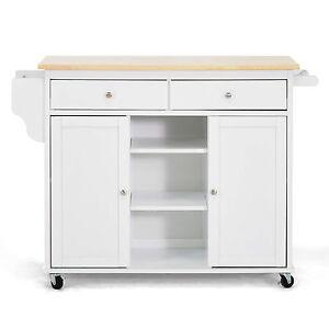 Meryland White Modern Kitchen Island Cart Storage Decor Accent Table Portable Ebay