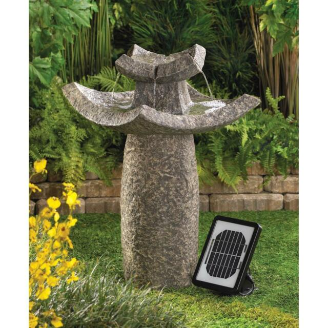 Solar Anese Asian Temple Paa Zen Bird Bath Outdoor Garden Patio Fountain