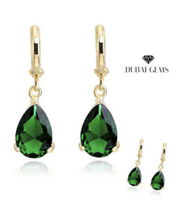 Yellow gold finish pearcut emerald droplet earrings free postage gift boxed