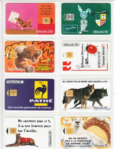 TELECARTE   FRANCE PACK ANIMAL FAUNE TOPIC  MIX USED//CHIP 8 PHONE CARD SET