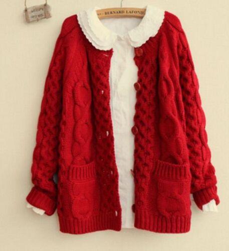 Japanese Lolita Winter Women Vintage Cardigan Cute Knit Sweater Coat Girl Gift