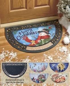 """Interchangeable Seasonal Faceplate Christmas Halloween /""""WELCOME/"""" Door Mat 6-Pc"""