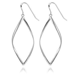 Womens-Silver-Twist-Spiral-Long-Drop-Dangle-Charm-Earrings-US-Sell
