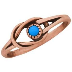 Celtic Copper Ring Turquoise Simulated Stone Irish Jewelry Knot Design Symbol