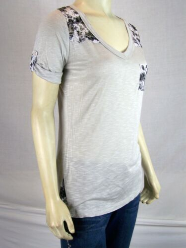 Anxiety Gray Short Sleeve Burnout Floral Lace Casual Knit Top Juniors Small 3 5