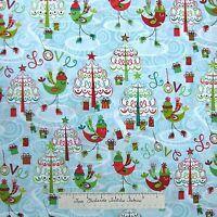 Christmas Fabric - Ice Skate Bird Tree Gift Blue Red Green - Hoffman Cotton Yard