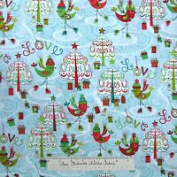 Christmas Fabric - Ice Skate Bird Tree Gift Blue Red Green - Hoffman Cotton Yard