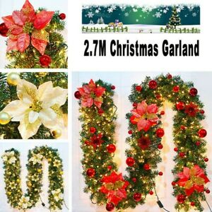 9FT-Christmas-Garland-Xmas-Decorations-Pre-Lit-LED-Light-UP-Fireplace-Wreath-UK