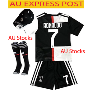 best sneakers 7385d 9c13b Details about EXPRESS New 2020 Kids Soccer Jersey Juventus #7 Ronaldo Kit  Top+Short+ Cap socks