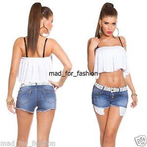 Women/'s Hot Pants Crochet Lace Shorts Hot Pants Summer Denim Shorts Size 6-14