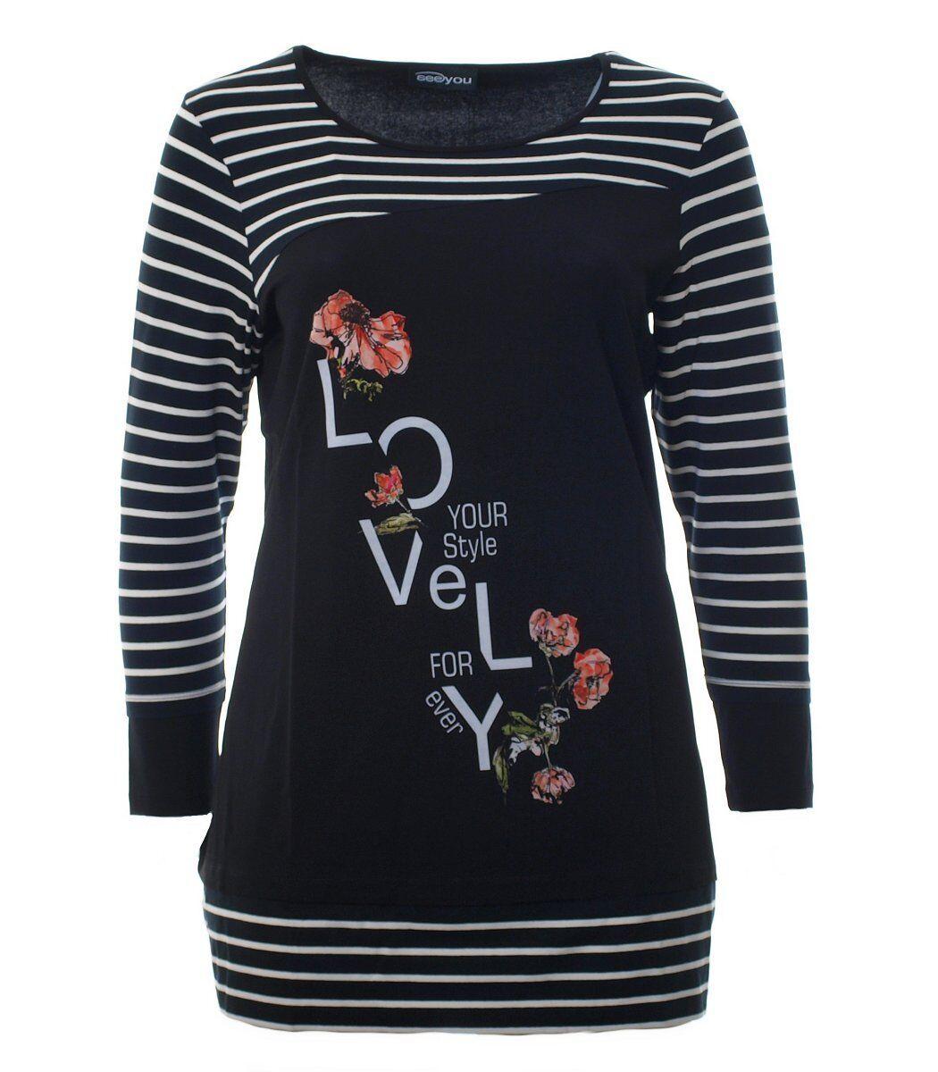 Langarm Longshirt für Damen in A-Linie Schwarz mit asymmetrischem-Muster