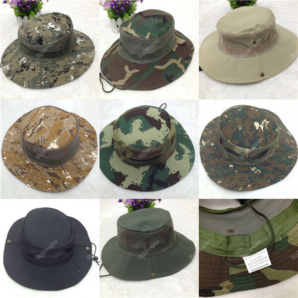New Men Army Camo Fishing Hiking Outdoor Cap Bucket Boonie Jungle Sun Net Hat 90