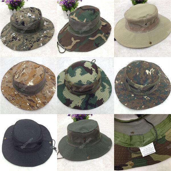 New Men Army Camo Fishing Hiking Outdoor Cap Bucket Boonie Jungle Sun Net Hat 90