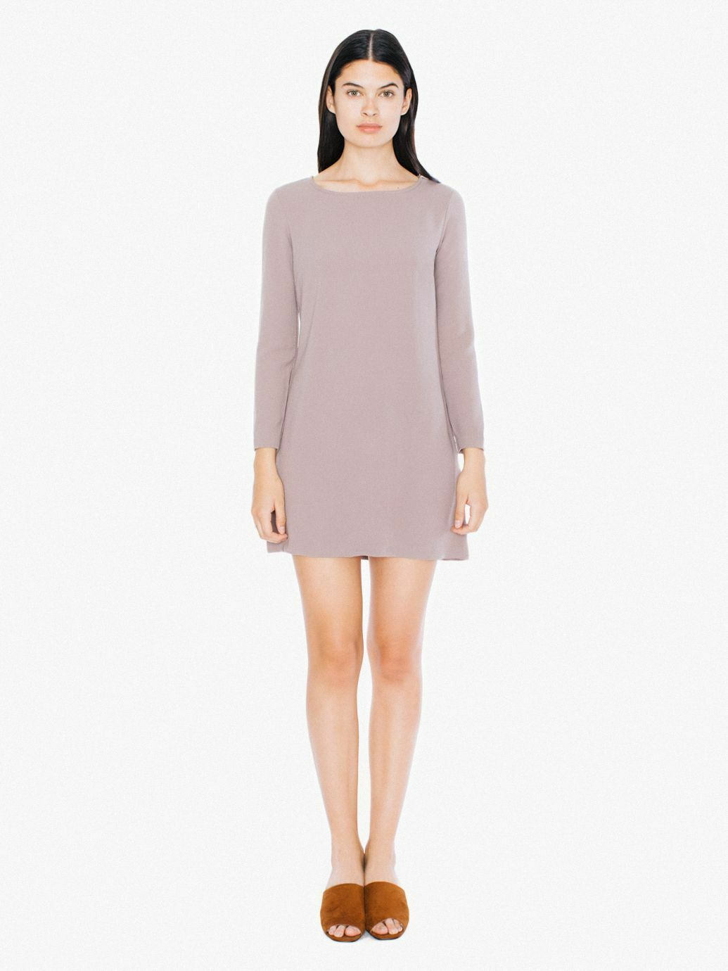 American Apparel Taupe Long Sleeve Gia Mini Dress Mod Willow Crepe XS 00 0 2