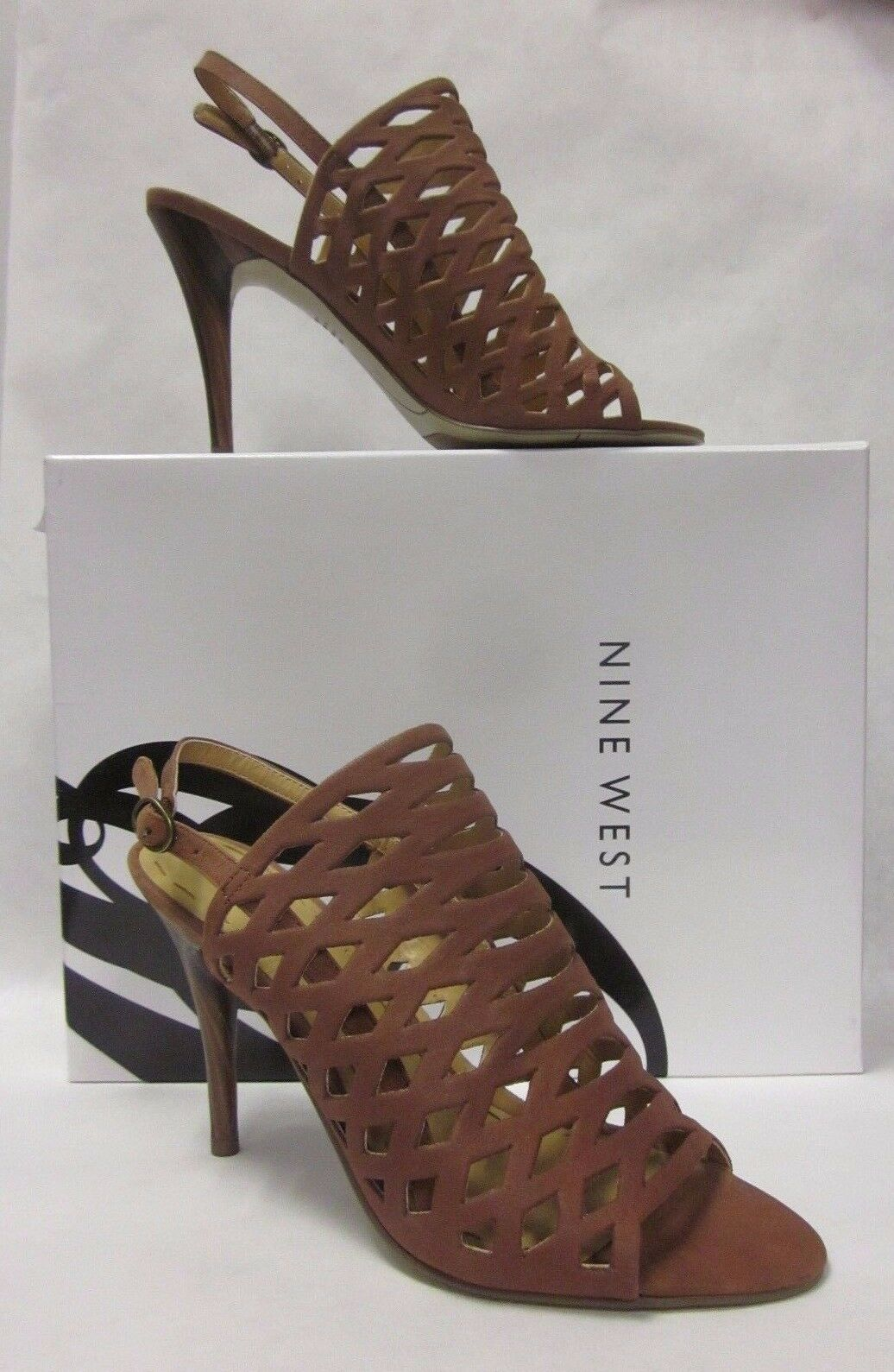 Nine West West West Smileydays Brown Cut Out Sandals Heels - size 6.5 8e1f2d