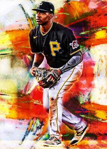 2021 Ke'Bryan Hayes Pirates Baseball 4/25 Art Red ACEO Print Card By:Q