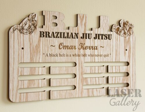 Custom BJJ Brazilian Jiu Jitsu Medal Display - Laser Cut Wooden Medal Hanger