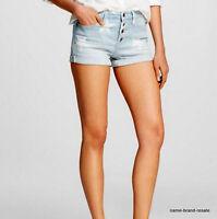 Mossimo High Rise Jean Shorts Womens 18 34 Denim Stars Button Fly Cuffs