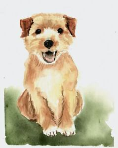 Details About Original Watercolor Wheaten Terrier Puppy Dog Painting