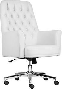 Details About Mid Back Traditional Tufted White Soft Leather Executive Office Chair With Arms