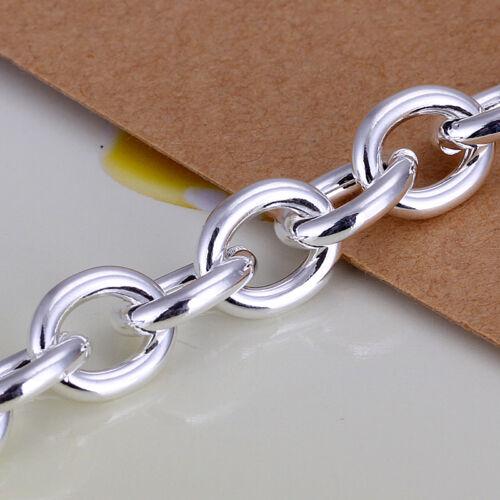 Prix de gros Argent Sterling 925 Lovely Heart charm Épais Chaîne Bracelet H285
