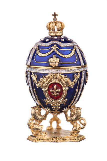 Decorative Faberge Egg / Trinket Jewel Box Russian Emperor's Crown 7.5 cm blue