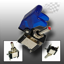 LED TOGGLE SWITCH 12V WITH AIRCRAFT STYLE BLUE FLIP COVER