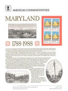 #306 22c Maryland Statehood #2342 USPS Commemorative Stamp Panel