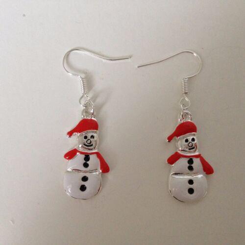 oferta Plata esterlina 925 Navidad Muñeco de Nieve Navidad Esmalte colgando pendientes