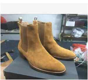 ef74bf54582e Men s High Top Chelsea Ankle Boots Suede Leather Chukka Vintage ...