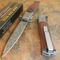 8 Tac Force Italian Milano Stiletto Damascus Spring Assisted Open Pocket Knife