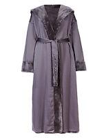 B.new Ex M&s Beautiful Grey Reversible Satin Shimmer Dressing Gown Longer Length