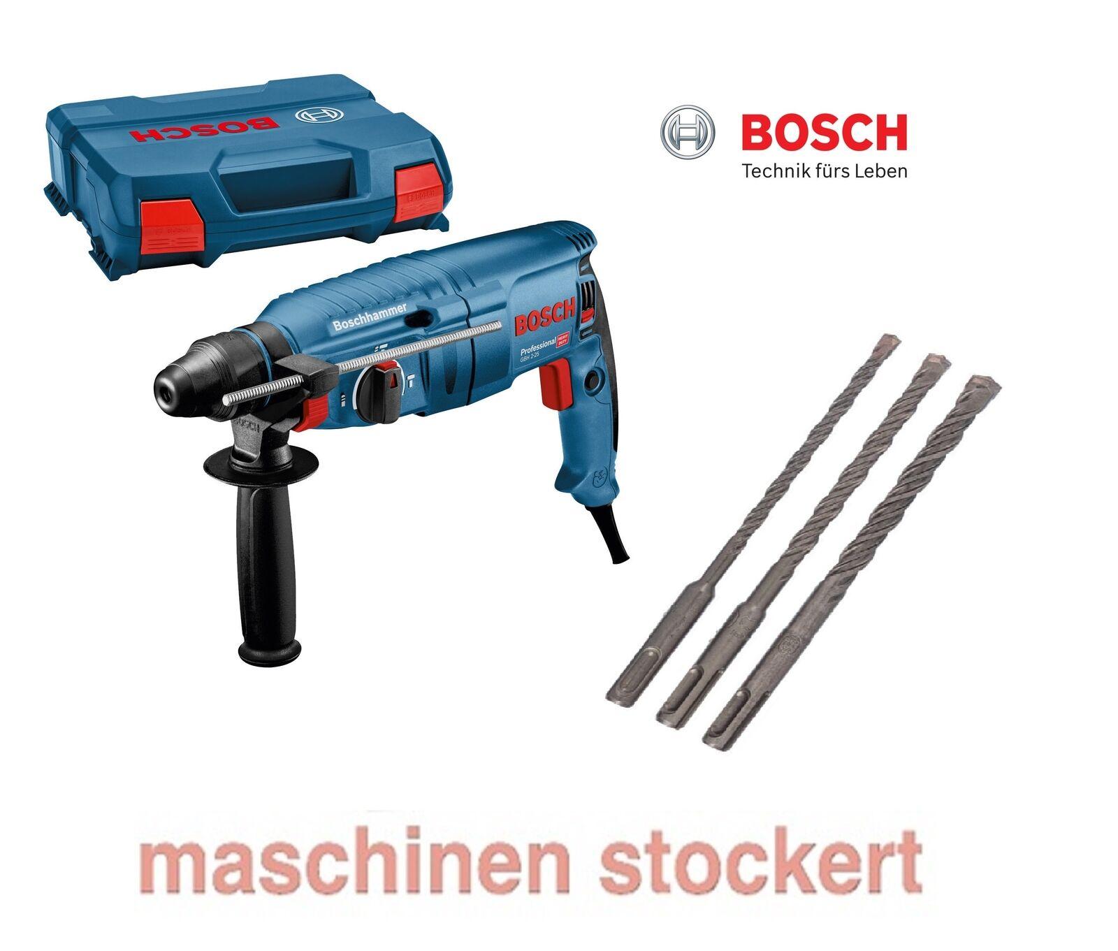 Bosch GBH 2-25 Blau Edition Bohrhammer, SDS-plus, L-Case - mit 3 tlg. Bohrer-Set