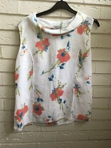 Orchidee-Bleue-Blanc-Multi-Lin-Floral-Chemisier-Top-LG