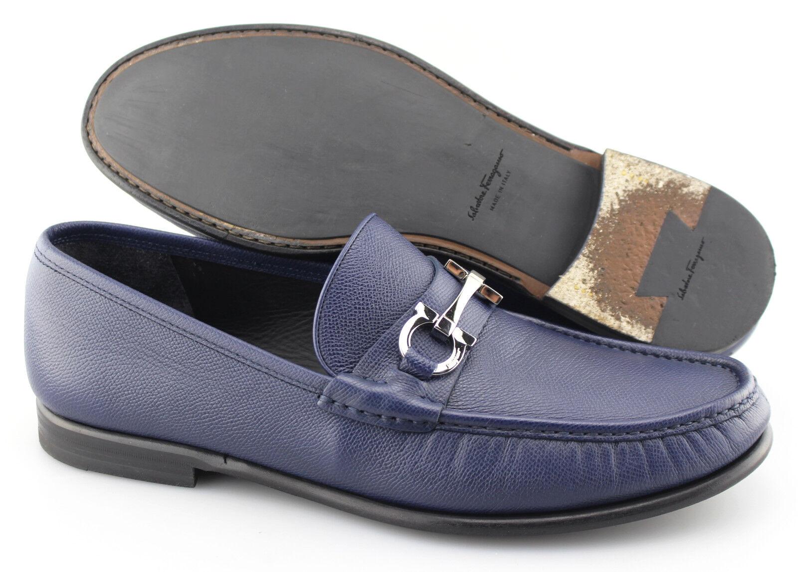 Men's SALVATORE FERRAGAMO 'Crown' Navy bluee Leather Loafers Size US 12 - E