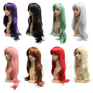 70cm-Cosplay-Peruecke-Lang-Gelockt-Gewellt-Haar-voll-Wigs-Weiblich-Damen-Manga-DE