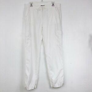 Eileen Fisher Solid White Lyocell Linen Blend Straight Leg Pocket Pants - US 10