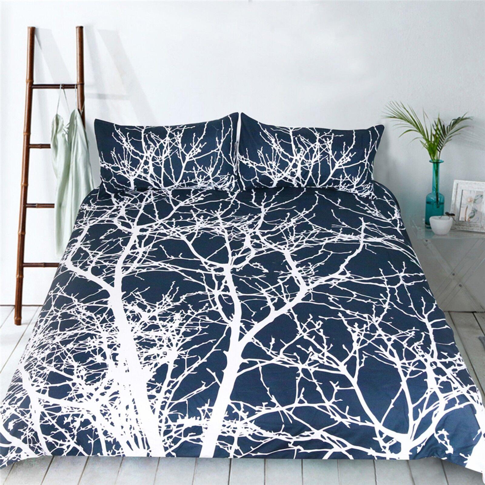 3D Weiß Branches 5 Bed Pillowcases Quilt Duvet Cover Set Single Queen CA
