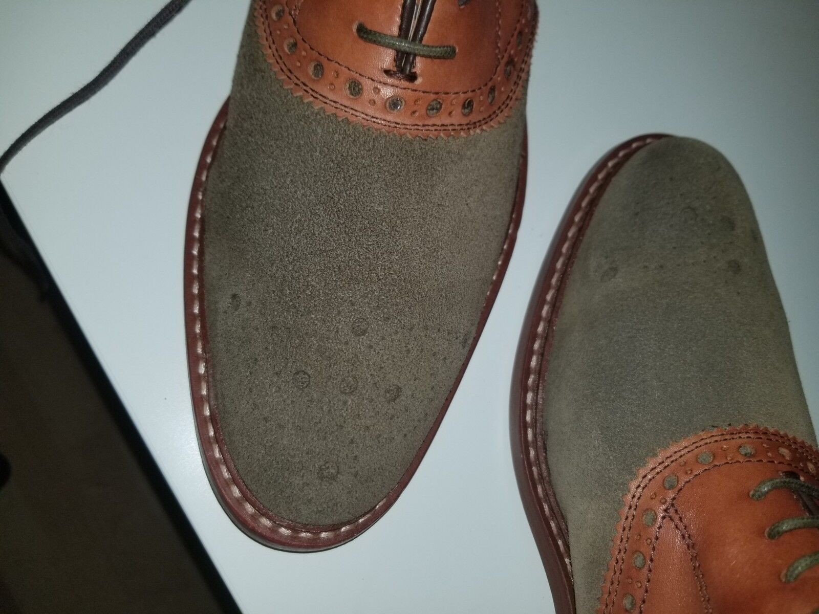 Brand New J M 1850-  Uomo Olive Suede wTan Leather Leather Leather Saddleback Goodyear 701ec1