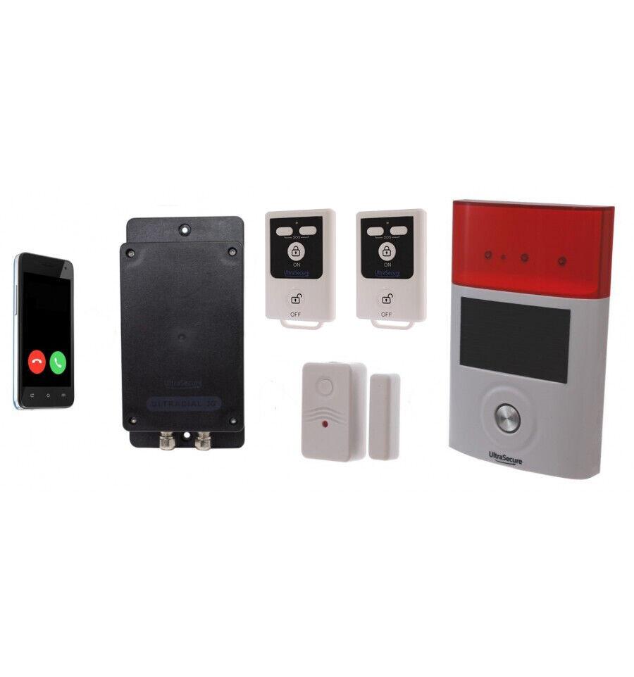 Batería 3G GSM Encubierto alarma ultradial - 1 X Contacto magnético y 1 X Sirena Solar