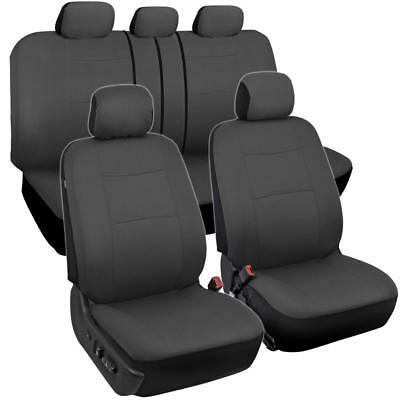 Fantastic Charcoal Gray Fabric Car Seat Covers Split Bench Options Full Interior Set Ebay Caraccident5 Cool Chair Designs And Ideas Caraccident5Info