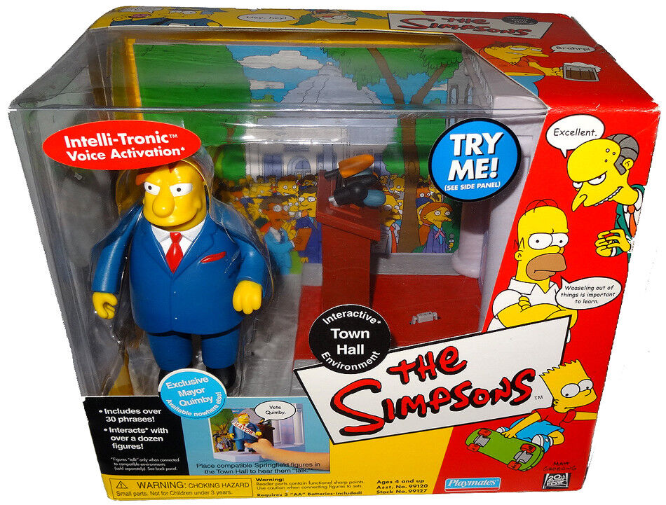 The Simpsons Town Hall Playset Environment WOS Figure MIB RARE Toy Mayor Quimby