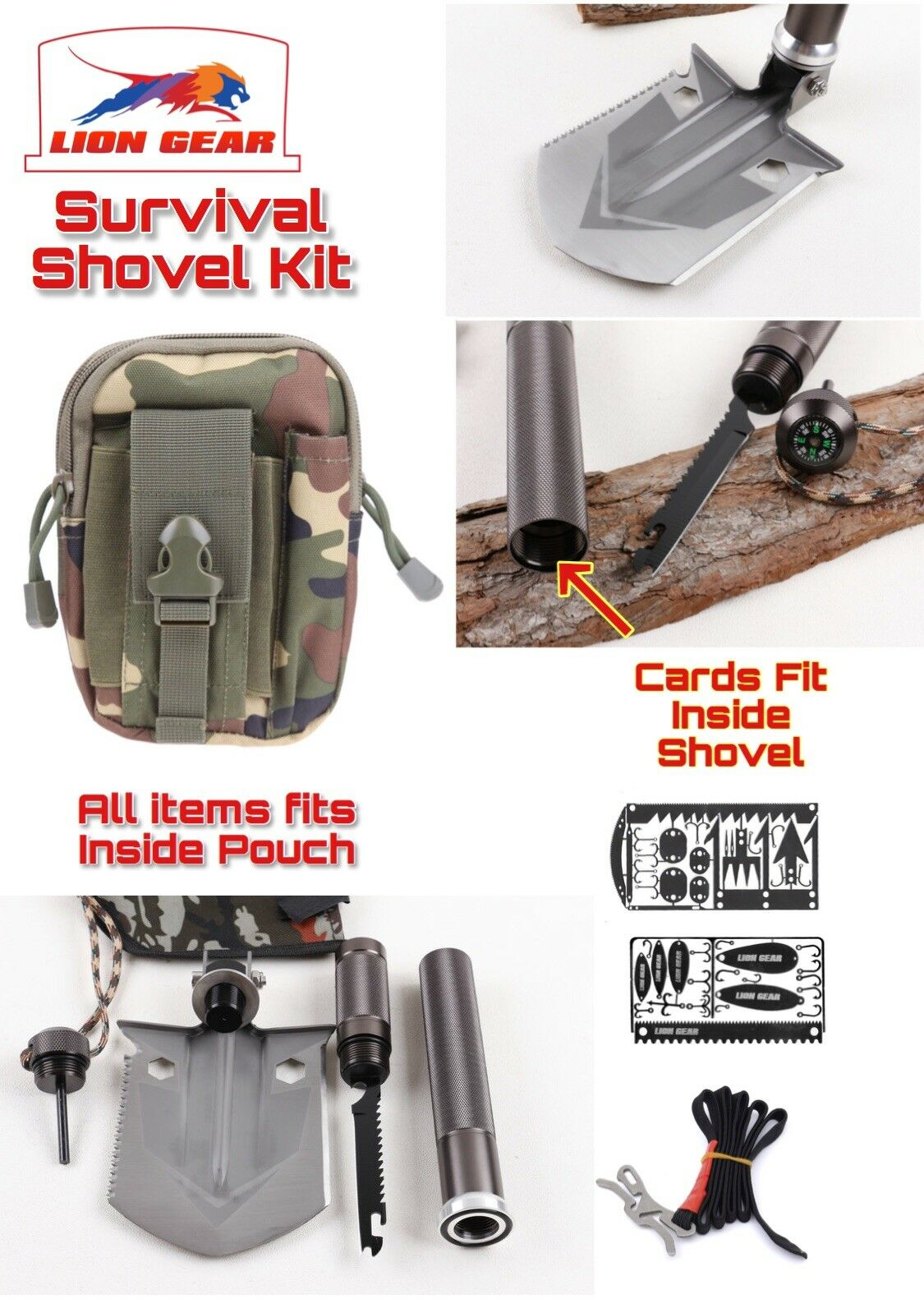 Survival Shovel Kit With Fishing  & Hunting Card  & Tourniquet Camping Hiking  very popular