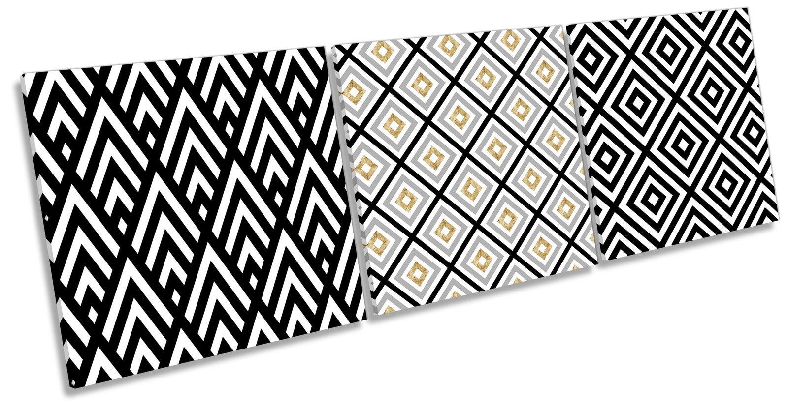Geometric Simple Bold Set of 3 CANVAS WALL ART Print Treble Multi-Colourot