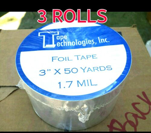 "3 Rolls HVAC Tape Technologies Aluminum Foil Tape 3"" x 1.7 MIL x 150 ft each"
