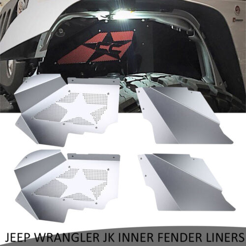 Solid Aluminum Front Inner Fender Liners fit 2007-2017 Jeep Wrangler JK 4WD US
