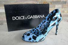 Dolce & Gabbana D&G Pumps Gr 38 Open-Toes High Heels Schuhe Leo blau neu UVP323€