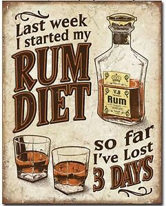 Rum-Diet-Metal-Tin-Sign-Humor-Funny-Garage-Man-Cave-Bar-Home-Wall-Decor-New